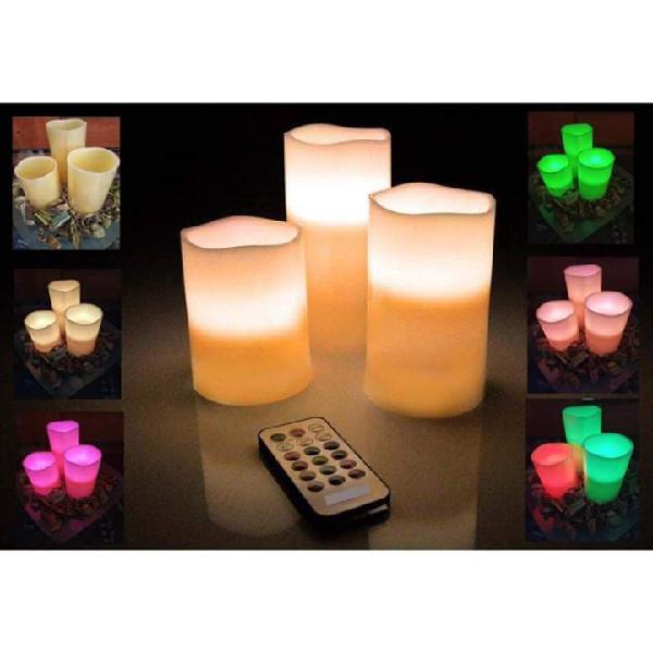 Lote 3 velas de cera con luces led