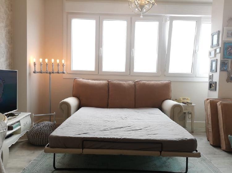 Sofá cama lino beige y pana color tostado