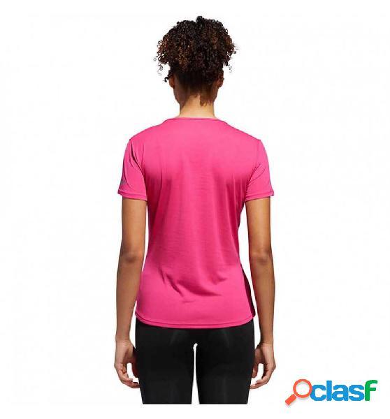 Camiseta m/c running adidas run tee w rosa s