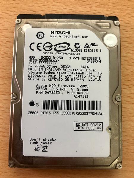 Disco duro hitachi 2.5 250 gb