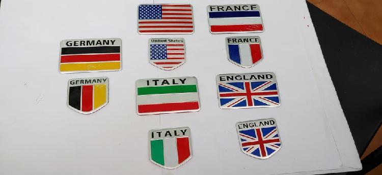 Emblemas adhesivas banderas nacionales, aluminio