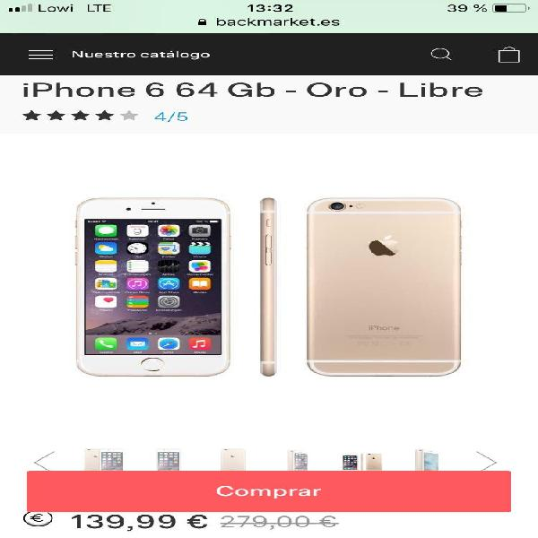 Iphone 6 64gb. gold.
