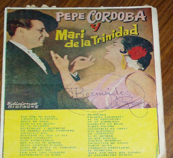 Pepe cordoba y mari de la trinidad - cancionero