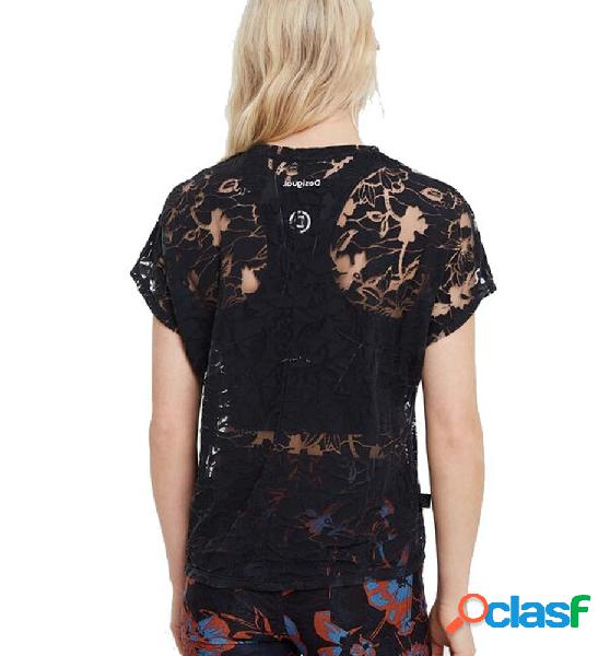 Camiseta casual mujer desigual tshirt devore manga corta l negro