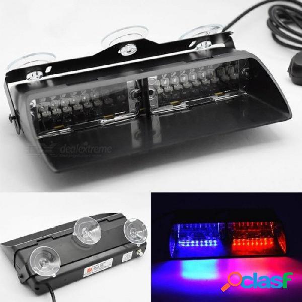 16 led rojo / azul coche policía luz estroboscópica luz de flash tablero de emergencia 18 luz intermitente luz de advertencia blanco ámbar rojo azul amarillo rojo y azul