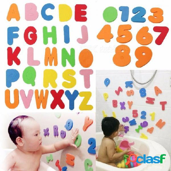 36pcs letras alfanuméricas baño rompecabezas suave números de eva juguete educativo temprano para los niños del bebé colorido