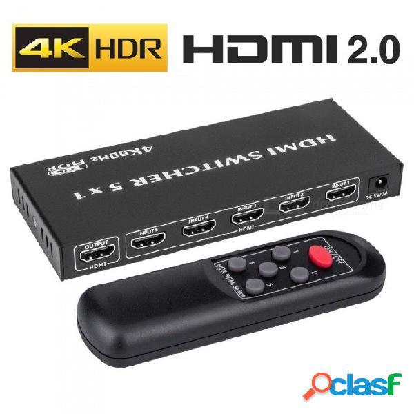 Conmutador De Interruptor HDMI 2.0 De 5x1 Con Control Remoto Por Infrarrojos, Compatible Con UHD 4K 60Hz