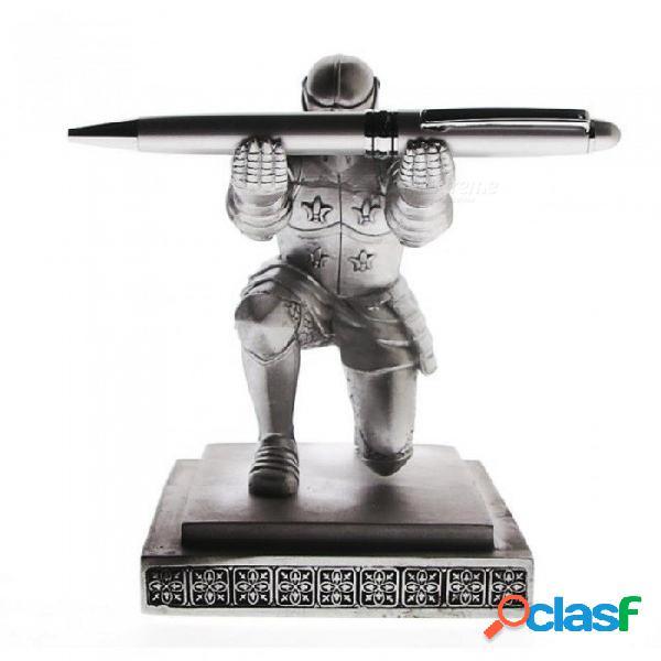 Ejecutivo medieval arqueamiento caballero titular de la pluma soporte de escritorio de escritorio decoración armadura soldado estatuilla estatua pisapapeles a