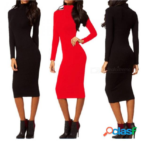 Europe and america dress turtleneck long sleeve solid color fashion pencil dresses for women black/s