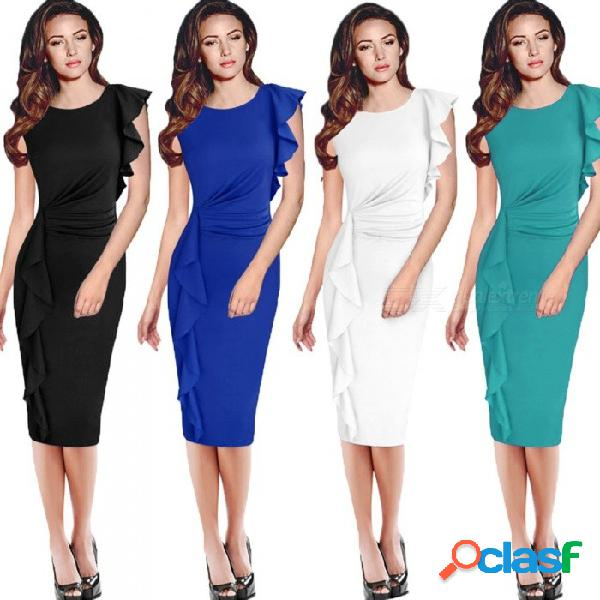 Europe and america summer dress solid color ruffles sleeveless slim pencil dresses for women black/s