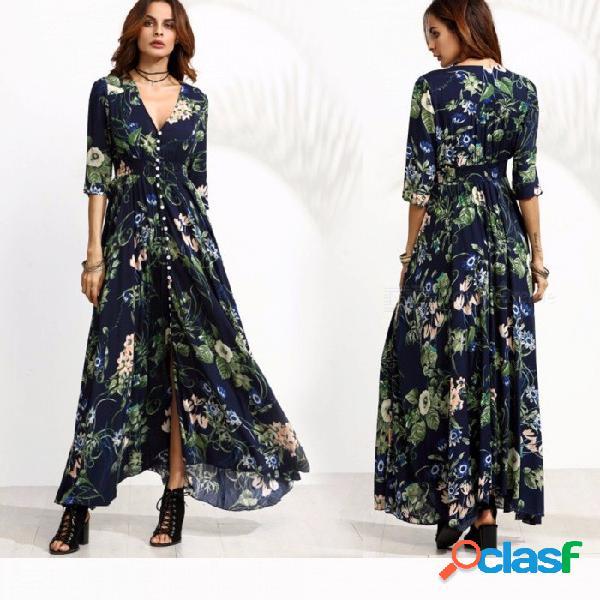 Vestidos de bohemia retro otoño con cuello en v estampado floral vestido de manga tres cuartos para mujeres azul marino / s
