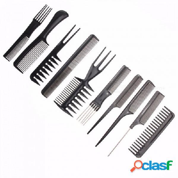 10 unids / set profesional cepillo para el cabello peine, peluquero salón de peluquería antiestático peines de peluquería cuidado del cabello estilo kit de herramientas negro