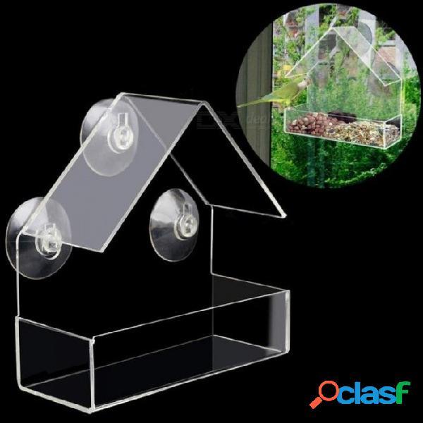 Alimentador de aves para mascotas creativo ventana transparente ardilla a prueba alimentador de aves ventana comederos para pájaros con color transparente transparente