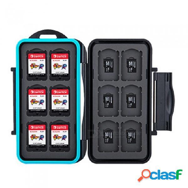 Caja de almacenamiento de tarjetas de juego de cartuchos a prueba de agua mc-nsmsd de nintendo switch con 12 ranuras para tarjetas de juego negro