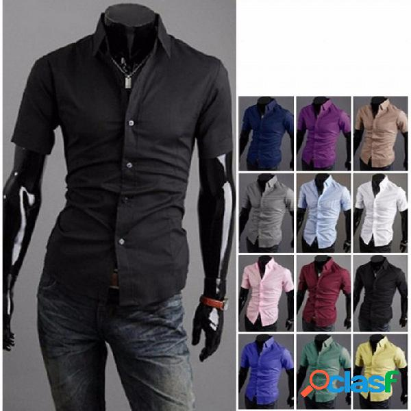 Camisa de manga corta de moda de verano hombres camisa delgada camisa de media manga de color sólido negro / m