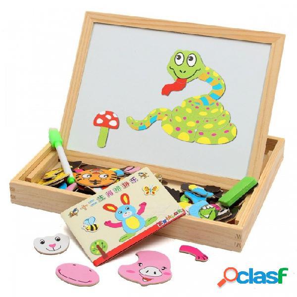 Dibujo magnético tablero de escritura rompecabezas caballete doble, regalo de juguete de desarrollo de inteligencia de madera para niños niños