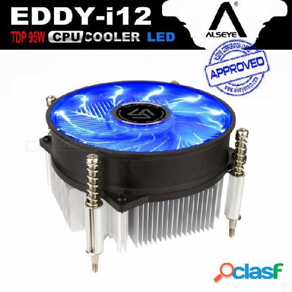 Disipador térmico de cpu alseye con ventilador de cpu led de 90 mm, enfriador de cpu tdp 95w 0.23a 2200rpm para lga 1150/1151/1155 / am2 / am2 + / am3 / am3 + / am4 a12 / i12
