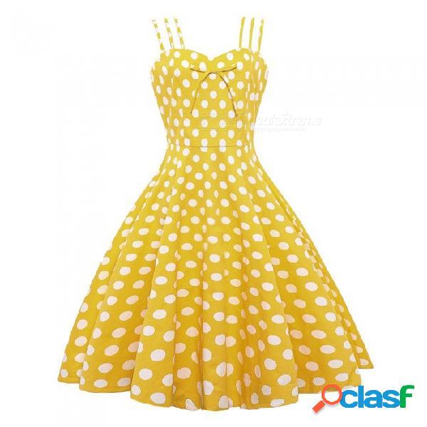Europa y américa vestido de verano correa de espagueti informal punto sin mangas vestido de bola vestido de tubo para las mujeres amarillo / s