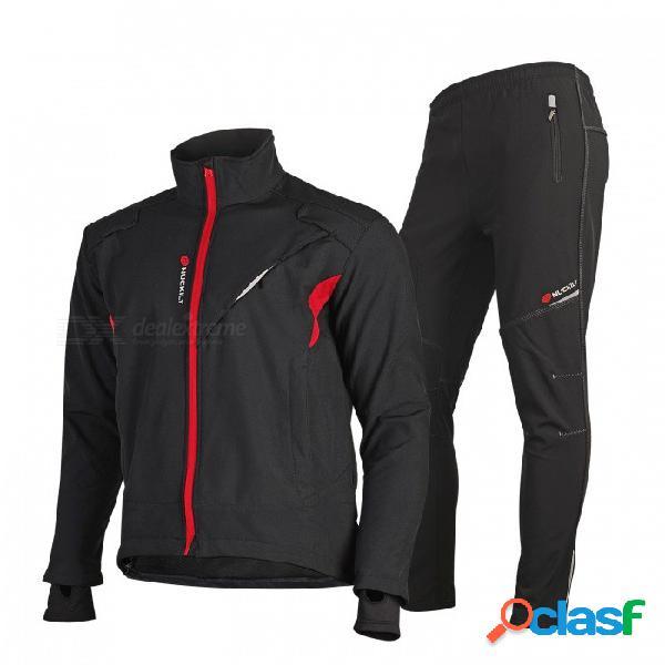 Nuckily me019mf019 pantalones jersey de ciclismo conjunto polar resistente al viento grueso y cálido ropa deportiva para el invierno - negro