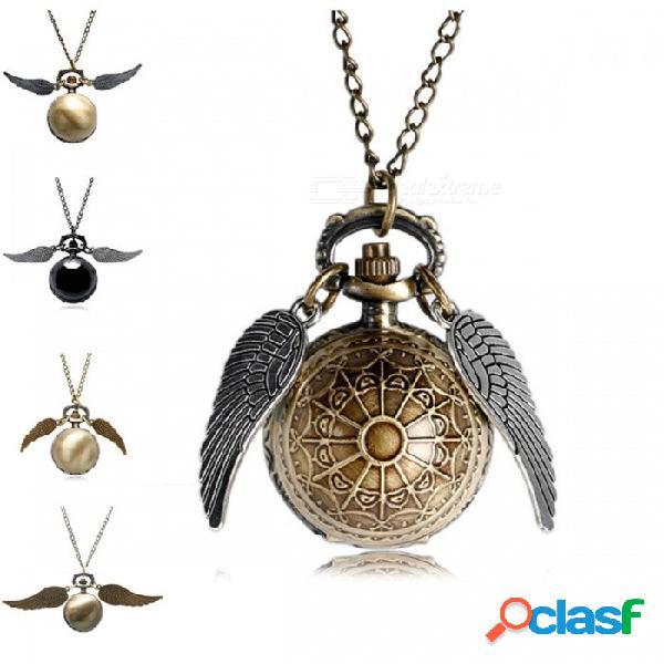 Antiguo asistente de oro reloj de bolsillo de cuarzo mágico con harry fob reloj alas collar para hombres mujeres regalo oro