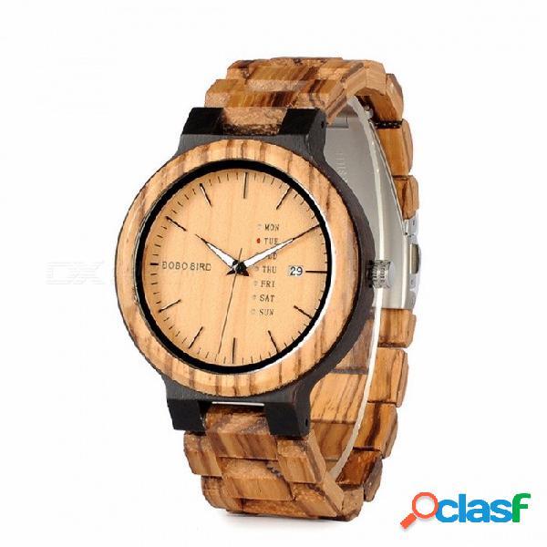 Bobo bird reloj de cuarzo de madera de dos tonos de gama alta única de moda con fecha automática, pantalla de la semana para hombres cara marrón