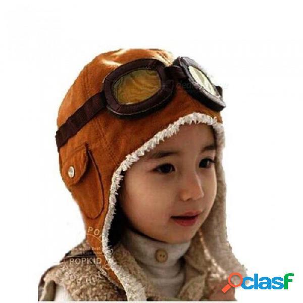 Bombardero unisex sombreros niño piloto aviador sombrero orejeras gorros niños otoño invierno cálido orejera tapa protectora para niños accesorios marrón