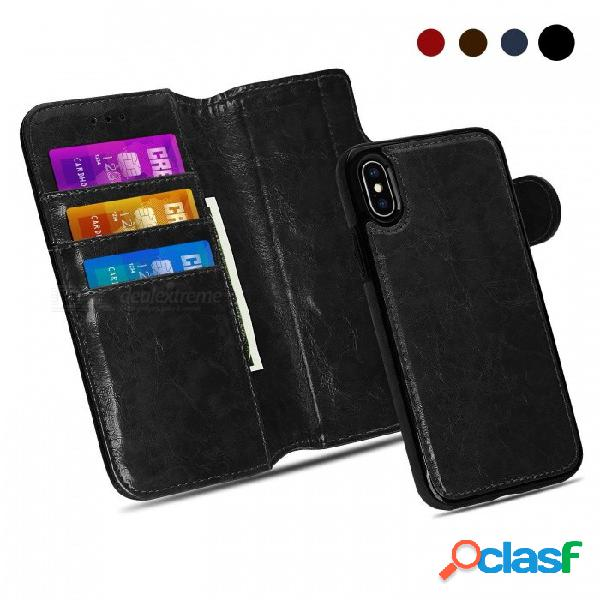 Caja de ranuras de tarjeta de pie de cuero de la pu de measy premium, caja magnética desmontable de la cartera flip / folio para iphone x