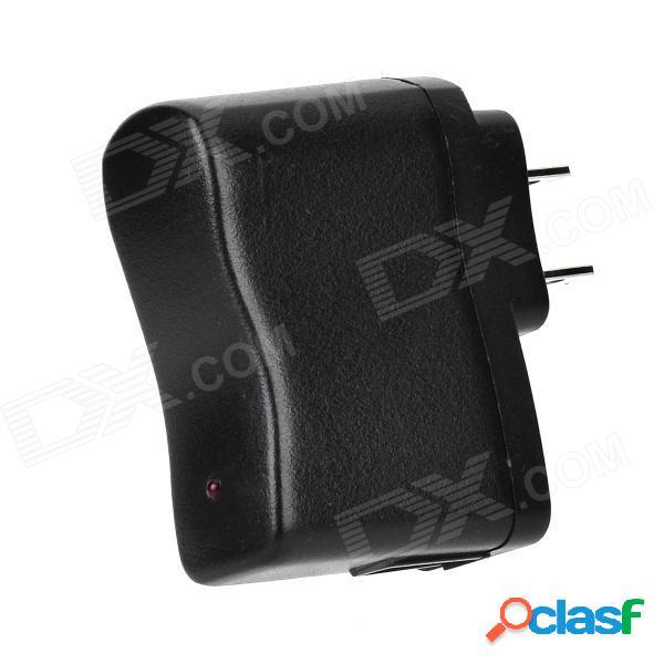 Cargador de adaptador de ca con salida usb para teléfono celular / mp3 / mp4-negro (2-apartamento-pin plug)