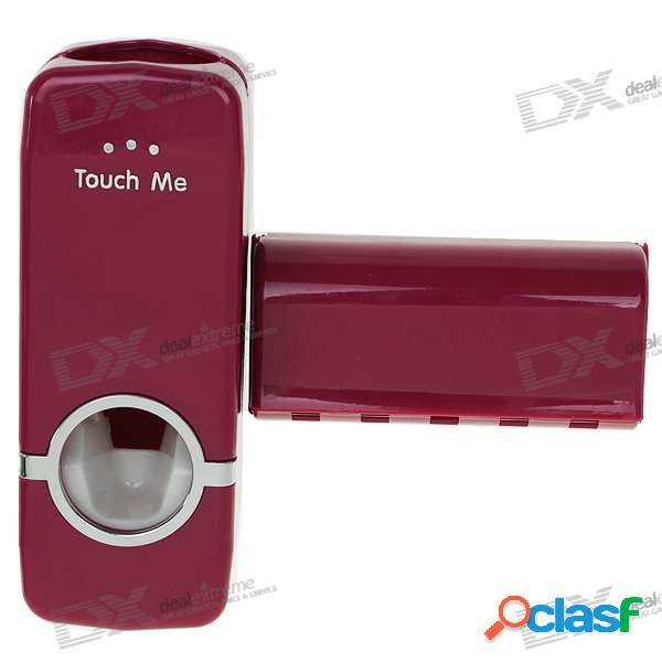 Dispositivo de escurrimiento automático de pasta de dientes 2 en 1 + soporte para cepillo de dientes (rojo)