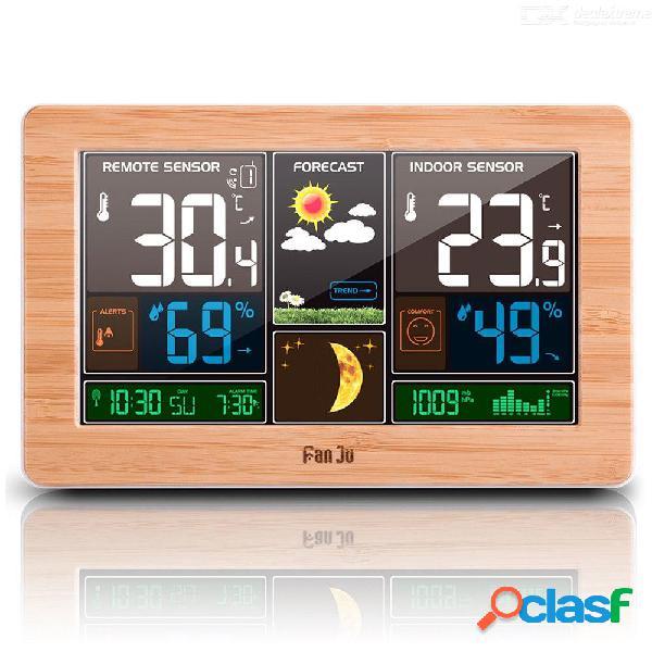 Fanju fj3378w estación meteorológica temperatura humedad sensor inalámbrico interior exterior higrómetro de carga usb pronóstico de barómetro de pared