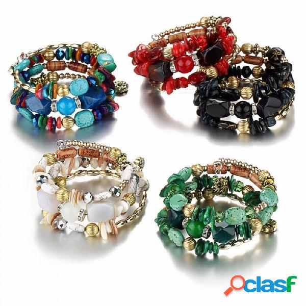 Imitación ventajosa de club natural musgo ágata cuentas de piedra anillos múltiples pulseras brazalete