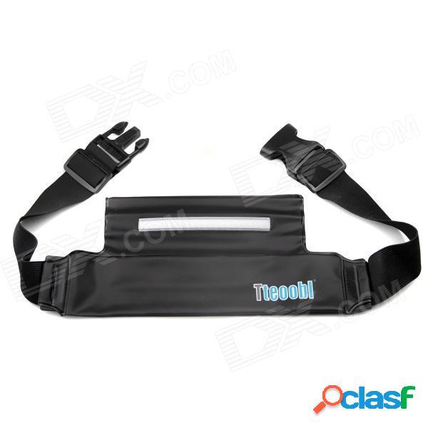 Práctica tteoobl p-606c con cremallera / formación / bolso impermeable de la cintura paquete de la bolsa de fitness - negro