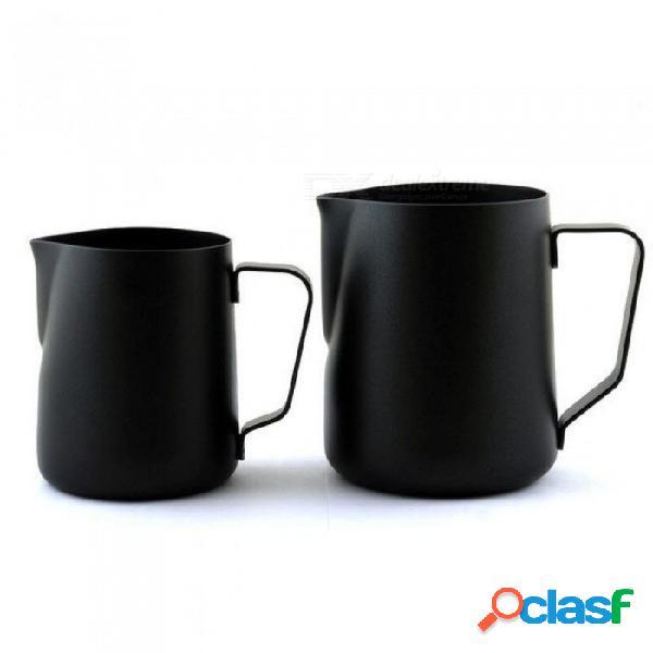 Recubrimiento antiadherente negro taza de café jarra taza jarra de acero inoxidable leche espresso jarra de espuma taza taza de manipulación 350 ml / 600 ml 350 ml