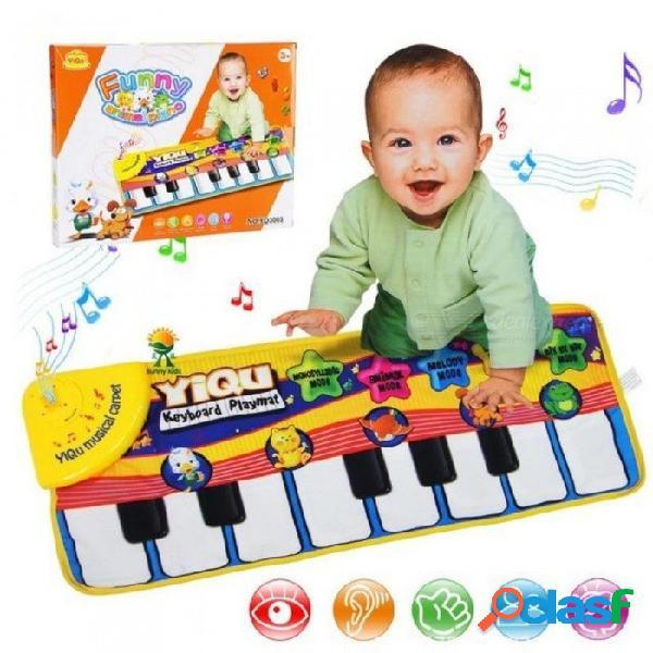 Alfombra grande bebé teclado musical tapete de juego música estera piano aprendizaje temprano juguetes educativos para niños niños rompecabezas regalos amarillo
