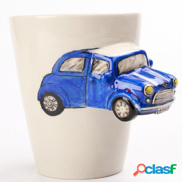 Color al azar único creativo mango de cerámica taza 3d coche autobús motocicleta modelado de dibujos animados pintado a mano transporte taza de leche de cerámica