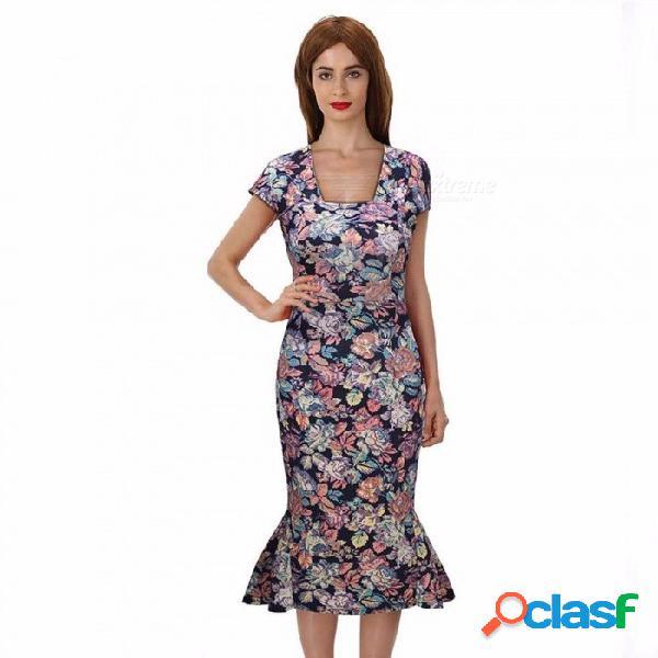 Europa y américa vestido de verano estampado floral vintage cuadrado collar sirena vestidos para mujeres multi / s