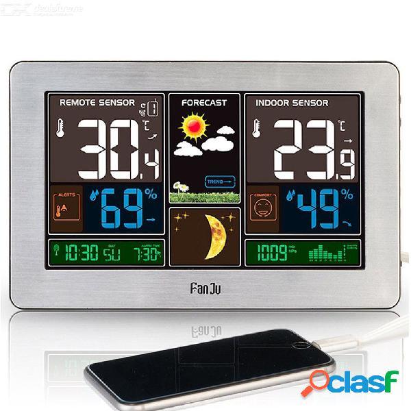 Fanju fj3378y estación meteorológica temperatura humedad sensor inalámbrico interior exterior higrómetro de carga usb pronóstico de barómetro