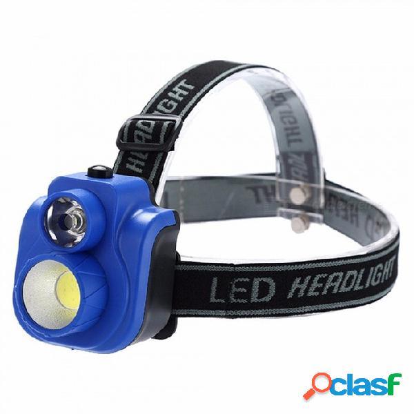Linterna led cob portátil, linterna fuerte de 2 modos, luz de cabeza de pesca pequeña para acampar, linterna led impermeable blanca / azul