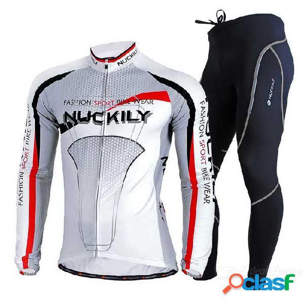 Nuckily los pantalones de la largo-manga jersey + pants del paño grueso y suave de los hombres - gris + blanco