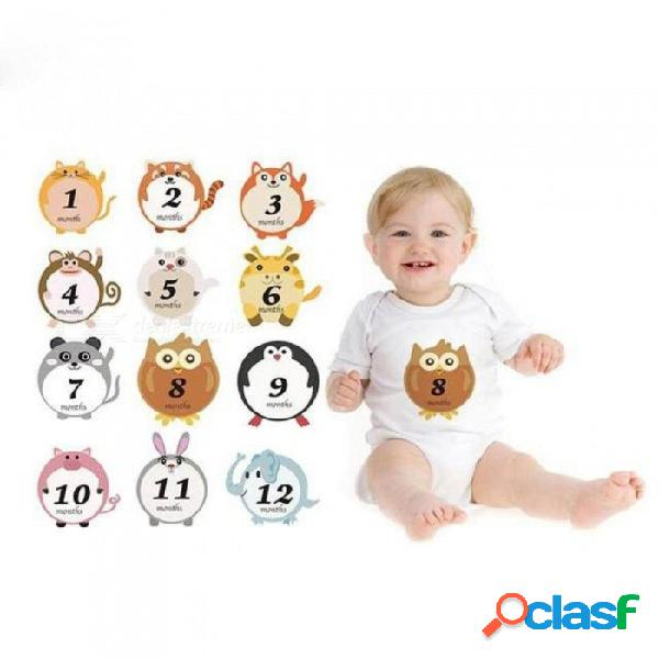 Bebé de dibujos animados lindo escalada ropa pegatinas animales pegatina de bebé para tomar fotos en diferentes meses como imagen