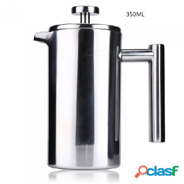 Cafetera exprés de 350 ml olla práctica cafetera de café de acero inoxidable con doble pared aislada cafetera de té con filtro para el hogar blanco