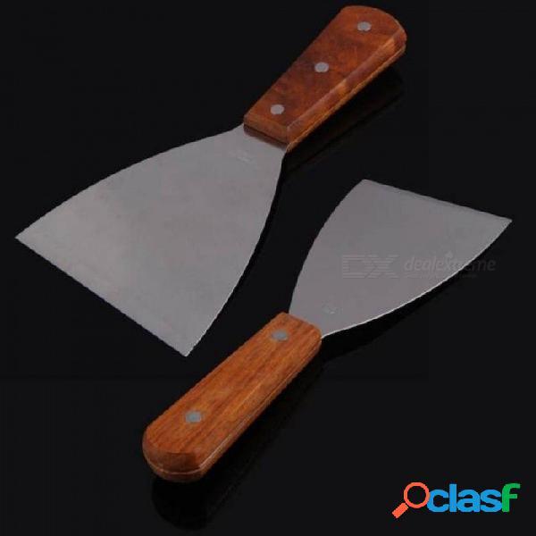 Cucharón de acero inoxidable turner espátula cucharada con mango de madera utensilios de cocina herramientas de cocina herramienta de pastelería accesorios de cocina l