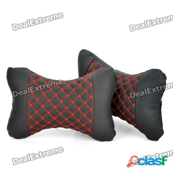 Elegante almohada cojín del amortiguador del cuello de la cabeza del asiento del coche - rojo + negro (par)