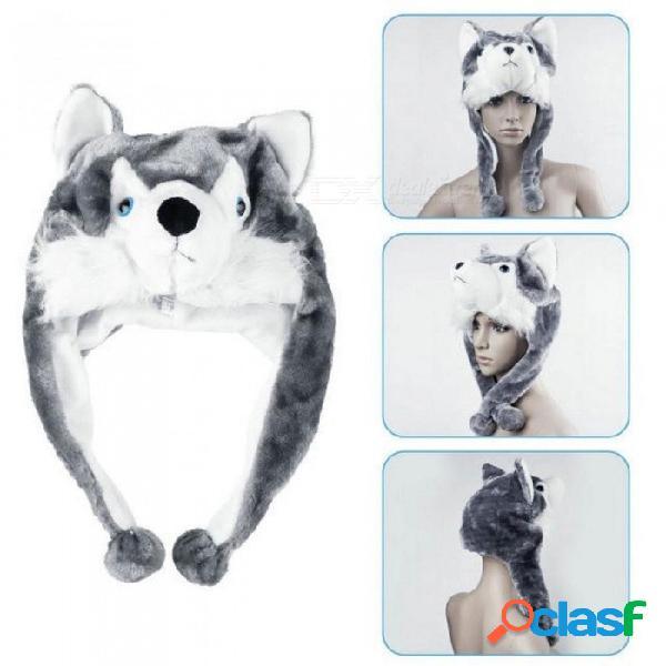 Estilo animal de dibujos animados capucha lobo gorro capuchas gorritas tejidas lindos niños mullidos gorras suave bufanda caliente orejeras felpa huskies sombreros a