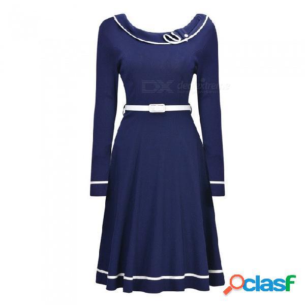Europa y américa vestido de otoño o-cuello casual vestidos de manga larga con marcos para las mujeres azul / s