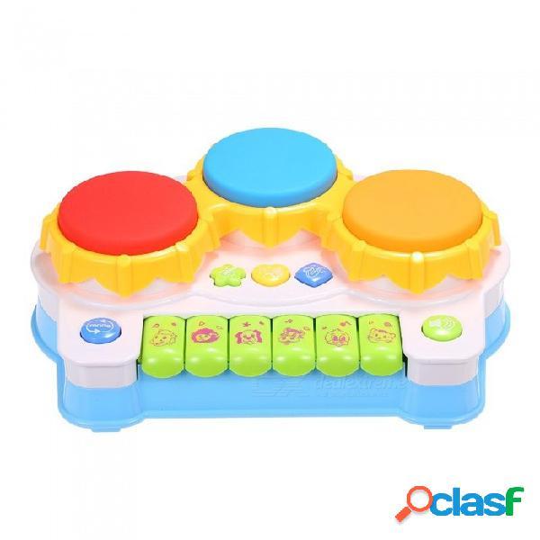 Juguetes musicales música piano teclado batería aprendizaje electrónico juguete divertido jugar para niños pequeños bebés juego educativo teclado azul