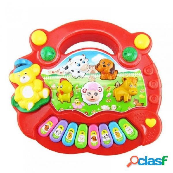 Popular instrumento musical juguete bebé niños animales granja piano música de desarrollo juguetes para niños plástico amarillo