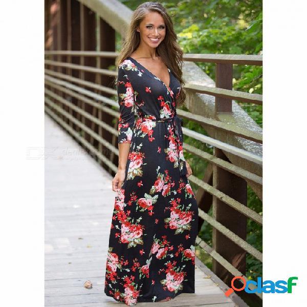 Vestido maxi largo de las mujeres, cuello en v manga tres cuartos estampado floral étnica playa de otoño vestido elegante con correa de cinturón negro / s