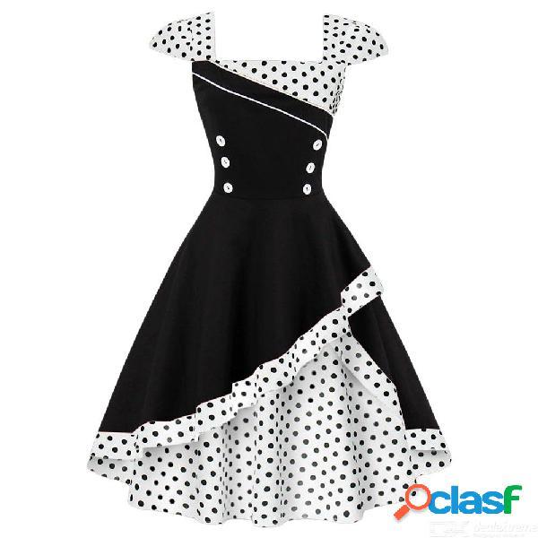 Vestido vintage de verano retro hepburn vestido lunares estampado vestidos de fiesta para las mujeres