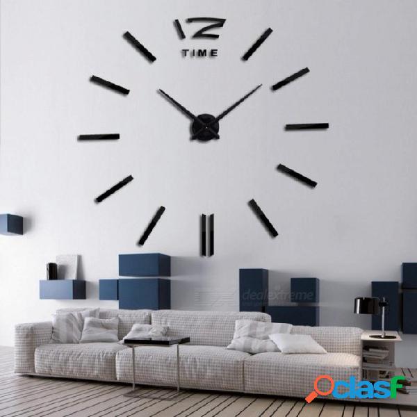 3d real reloj de pared grande espejo de cepillo etiqueta de la pared sala de estar decoración del hogar diy relojes llegada relojes de pared de cuarzo 37 pulgadas / oro